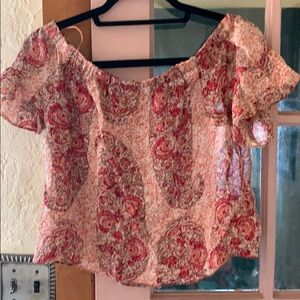 NWT Madewell cropped silk top